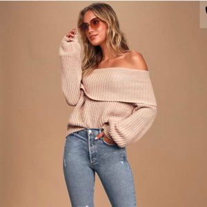 Lulus Blush Taupe Off Shoulder Chunky Knit Sweater